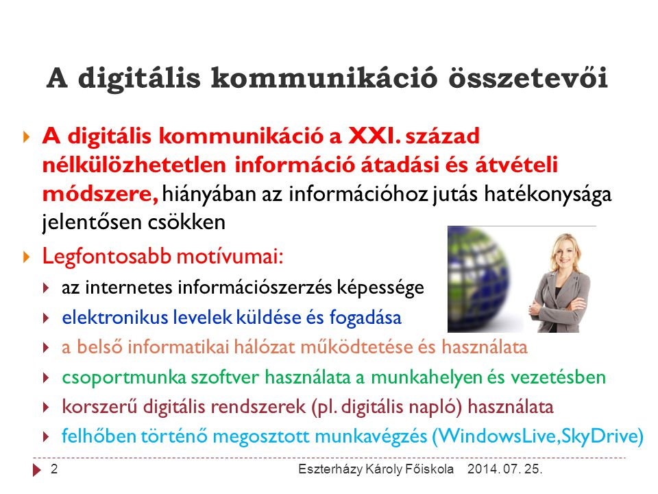 A digitális kommunikáció összetevői