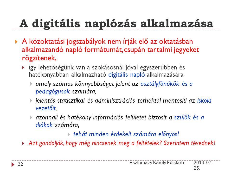 A digitális naplózás alkalmazása