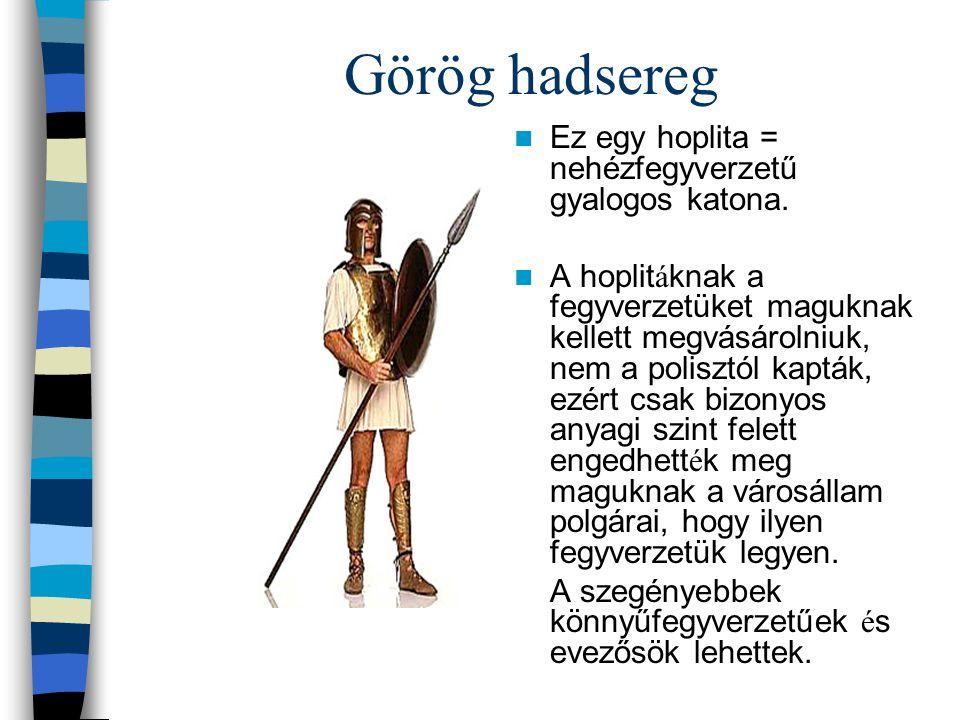 Görög hadsereg Ez egy hoplita = nehézfegyverzetű gyalogos katona.