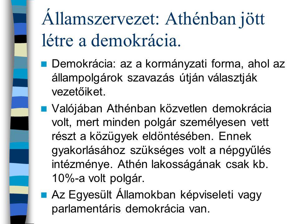 Államszervezet: Athénban jött létre a demokrácia.