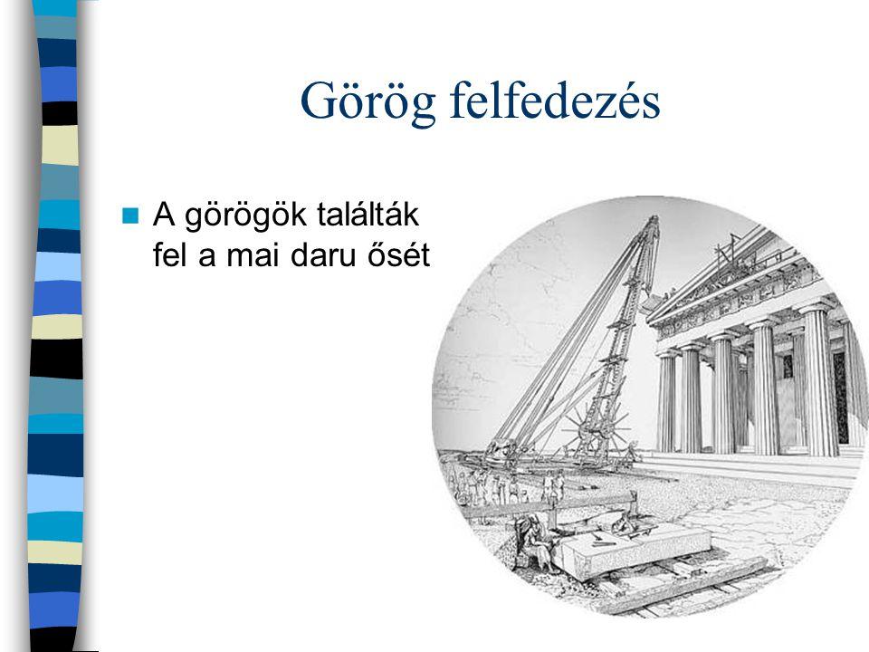 Görög felfedezés A görögök találták fel a mai daru ősét.