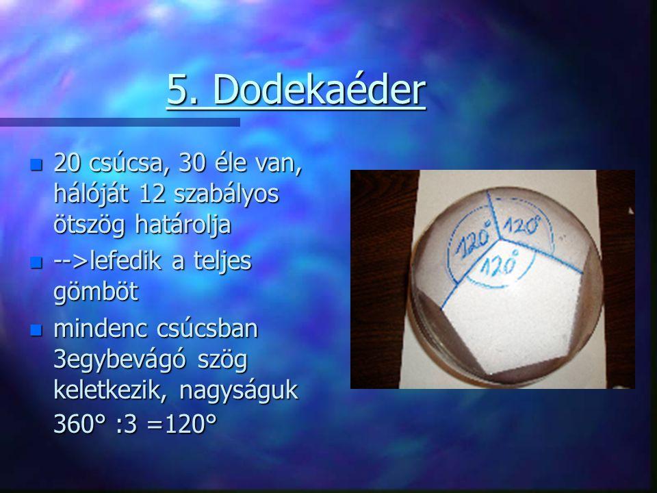 5. Dodekaéder 20 csúcsa, 30 éle van, hálóját 12 szabályos ötszög határolja. -->lefedik a teljes gömböt.