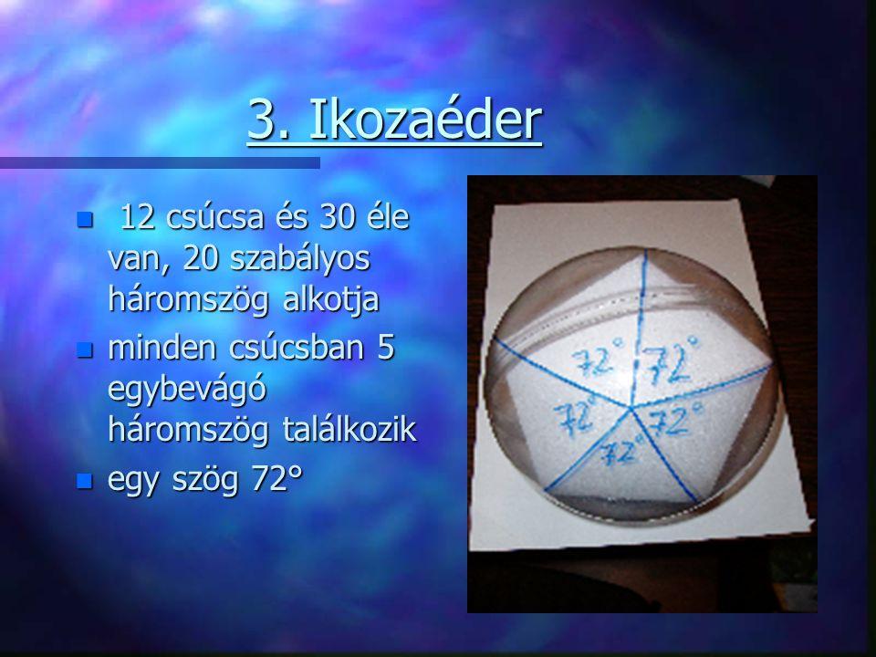 3. Ikozaéder 12 csúcsa és 30 éle van, 20 szabályos háromszög alkotja
