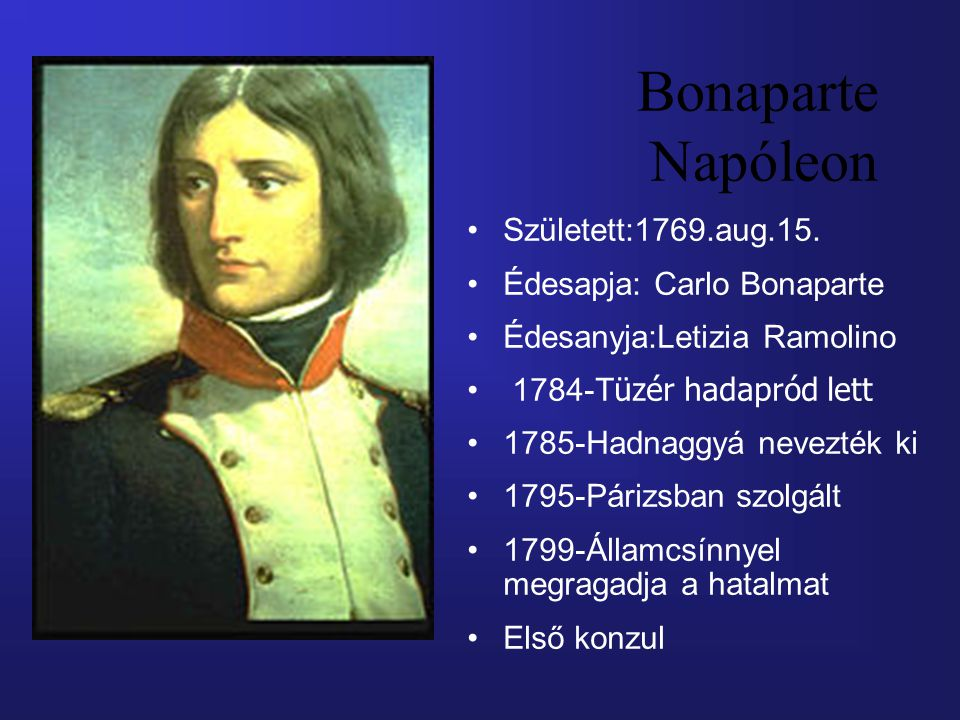 Bonaparte Napóleon Született:1769.aug.15. Édesapja: Carlo Bonaparte