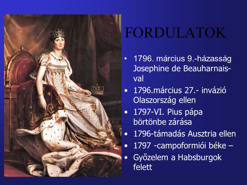 FORDULATOK 1796. március 9.-házasság Josephine de Beauharnais-val