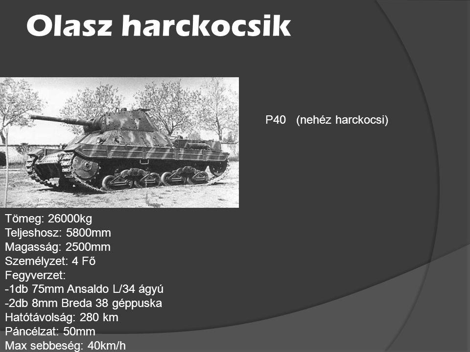 Olasz harckocsik P40 (nehéz harckocsi) Tömeg: 26000kg
