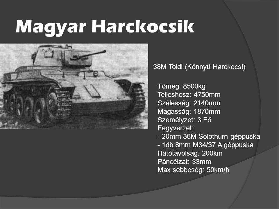 Magyar Harckocsik 38M Toldi (Könnyű Harckocsi) Tömeg: 8500kg