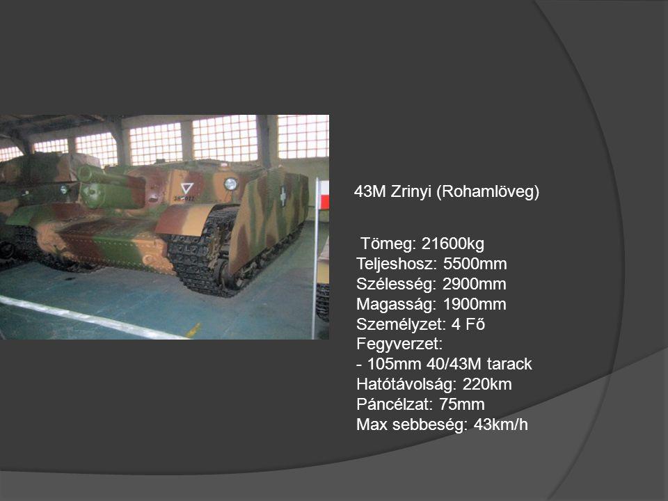 43M Zrinyi (Rohamlöveg) Tömeg: 21600kg. Teljeshosz: 5500mm. Szélesség: 2900mm. Magasság: 1900mm.