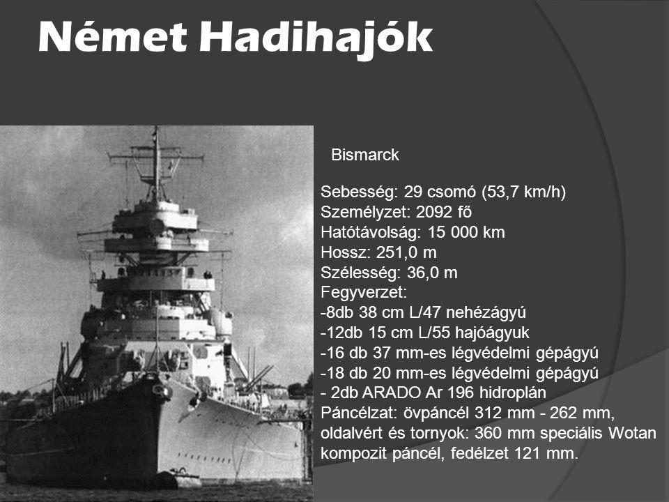 Német Hadihajók Bismarck Sebesség: 29 csomó (53,7 km/h)