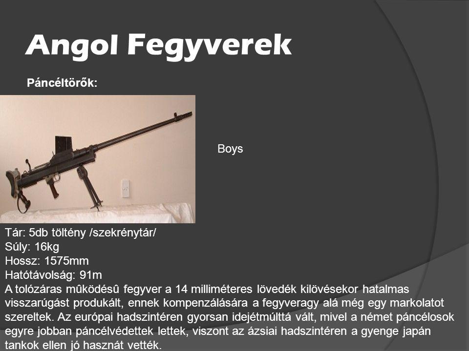 Angol Fegyverek Páncéltörők: Boys Tár: 5db töltény /szekrénytár/