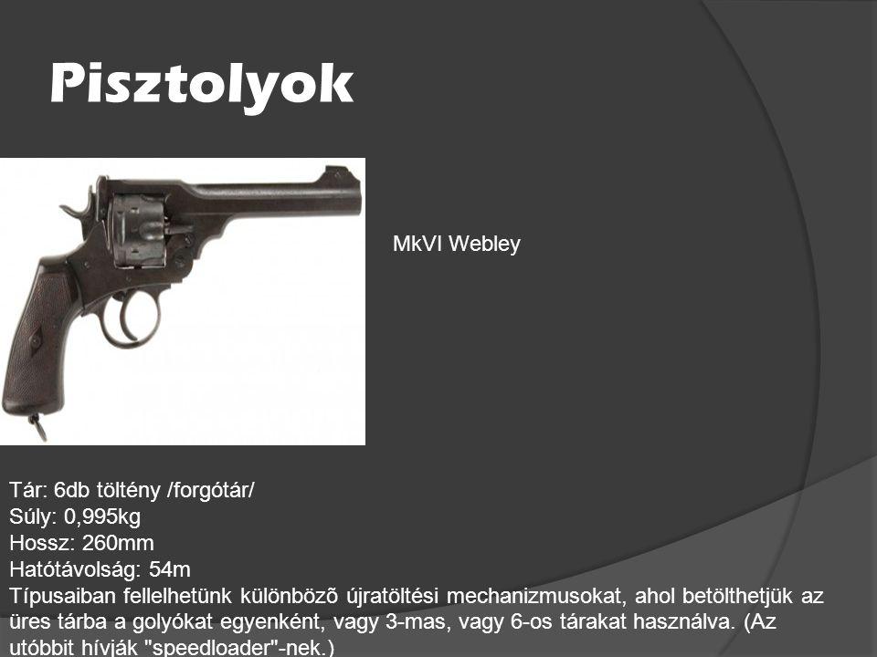 Pisztolyok MkVI Webley Tár: 6db töltény /forgótár/ Súly: 0,995kg
