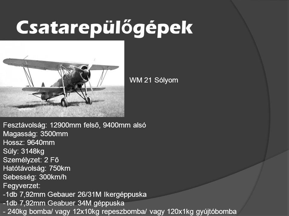 Csatarepülőgépek WM 21 Sólyom Fesztávolság: 12900mm felső, 9400mm alsó