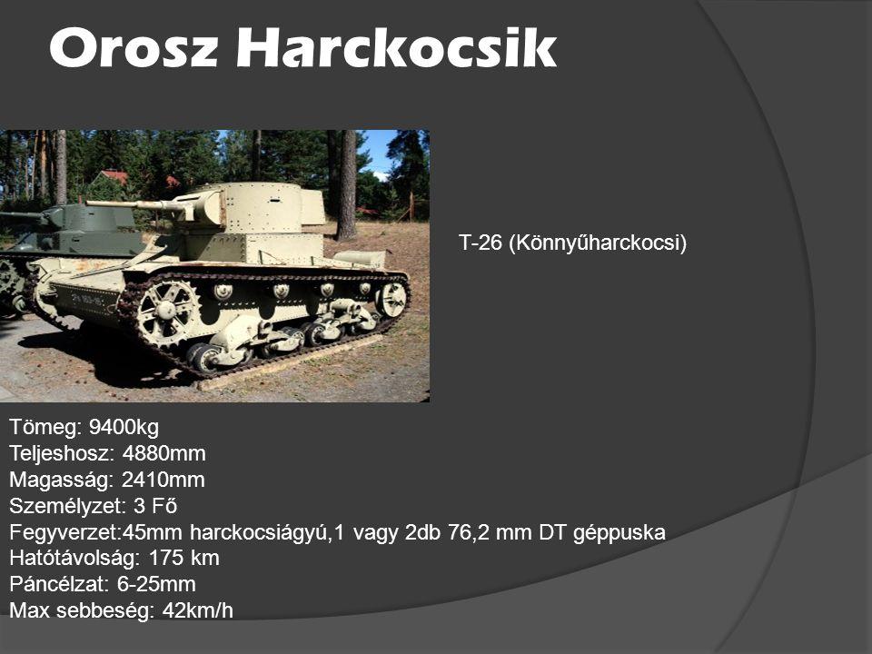 Orosz Harckocsik T-26 (Könnyűharckocsi) Tömeg: 9400kg