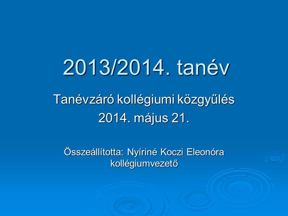 2013/2014. tanév Tanévzáró kollégiumi közgyűlés 2014. május 21.