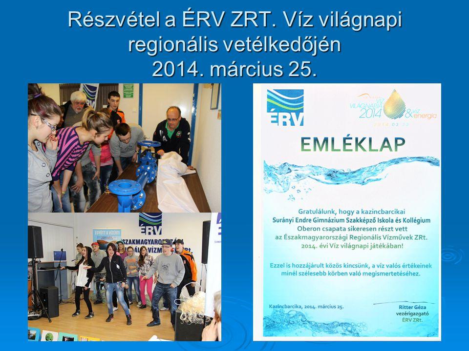 Részvétel a ÉRV ZRT. Víz világnapi regionális vetélkedőjén 2014