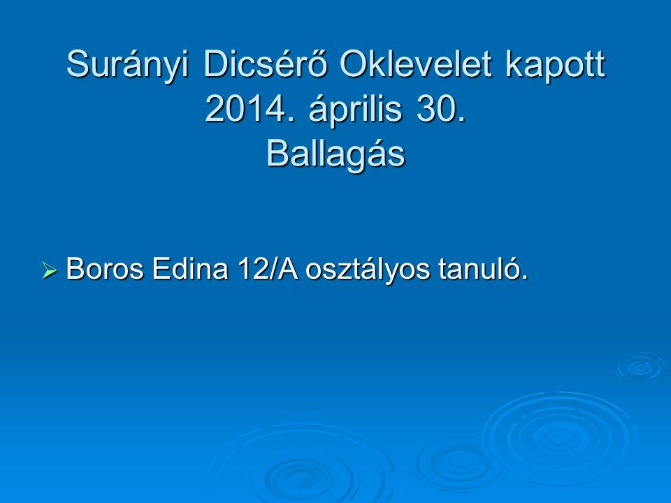 Surányi Dicsérő Oklevelet kapott 2014. április 30. Ballagás