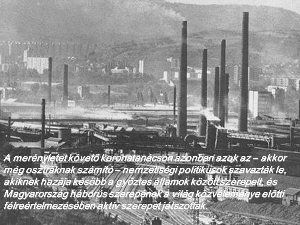 A merényletet követő koronatanácson azonban azok az – akkor még osztráknak számító – nemzetiségi politikusok szavazták le, akiknek hazája később a győztes államok között szerepelt, és Magyarország háborús szerepének a világ közvéleménye előtti félreértelmezésében aktív szerepet játszottak.