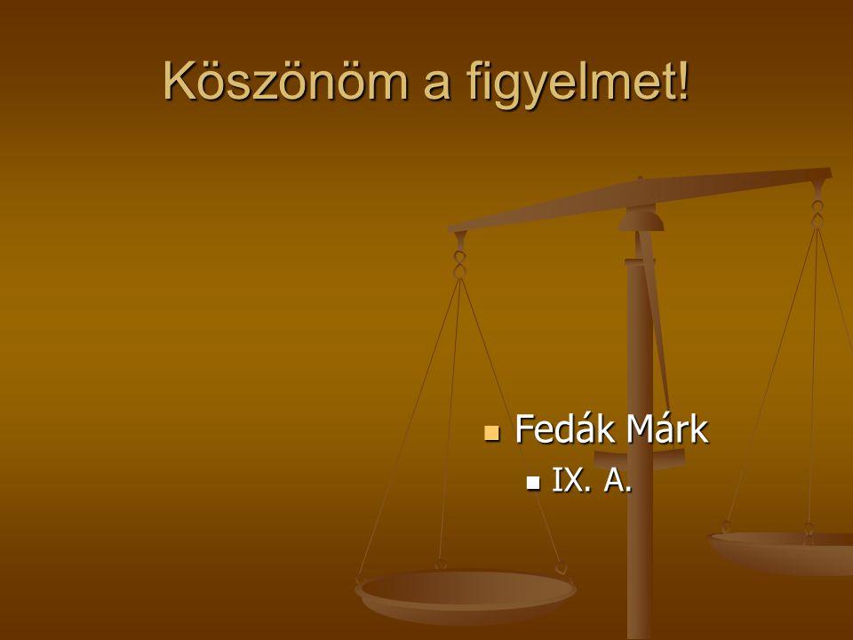 Köszönöm a figyelmet! Fedák Márk IX. A.