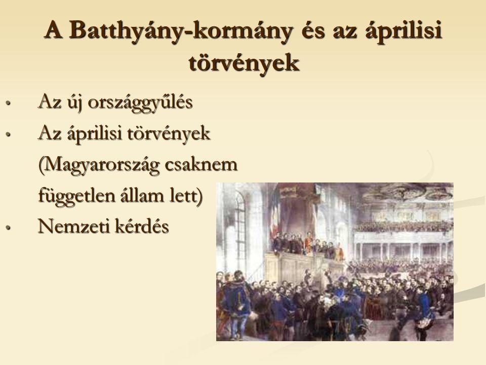 A Batthyány-kormány és az áprilisi törvények