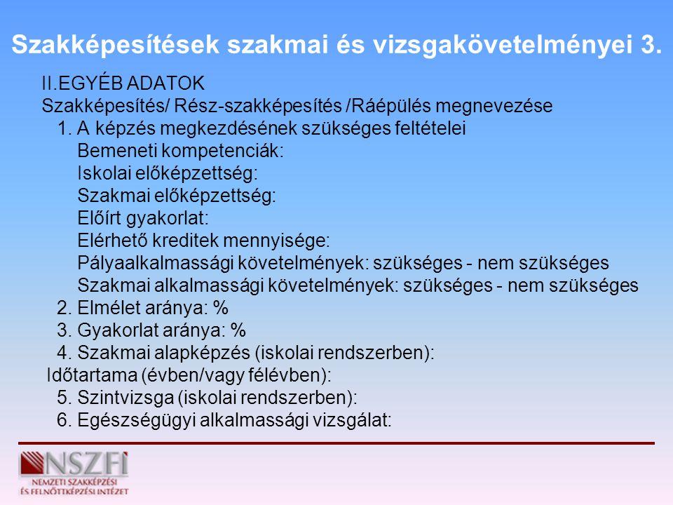 Szakképesítések szakmai és vizsgakövetelményei 3.