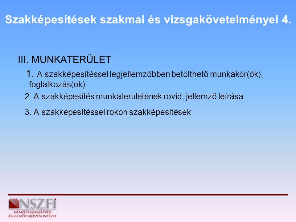 Szakképesítések szakmai és vizsgakövetelményei 4.