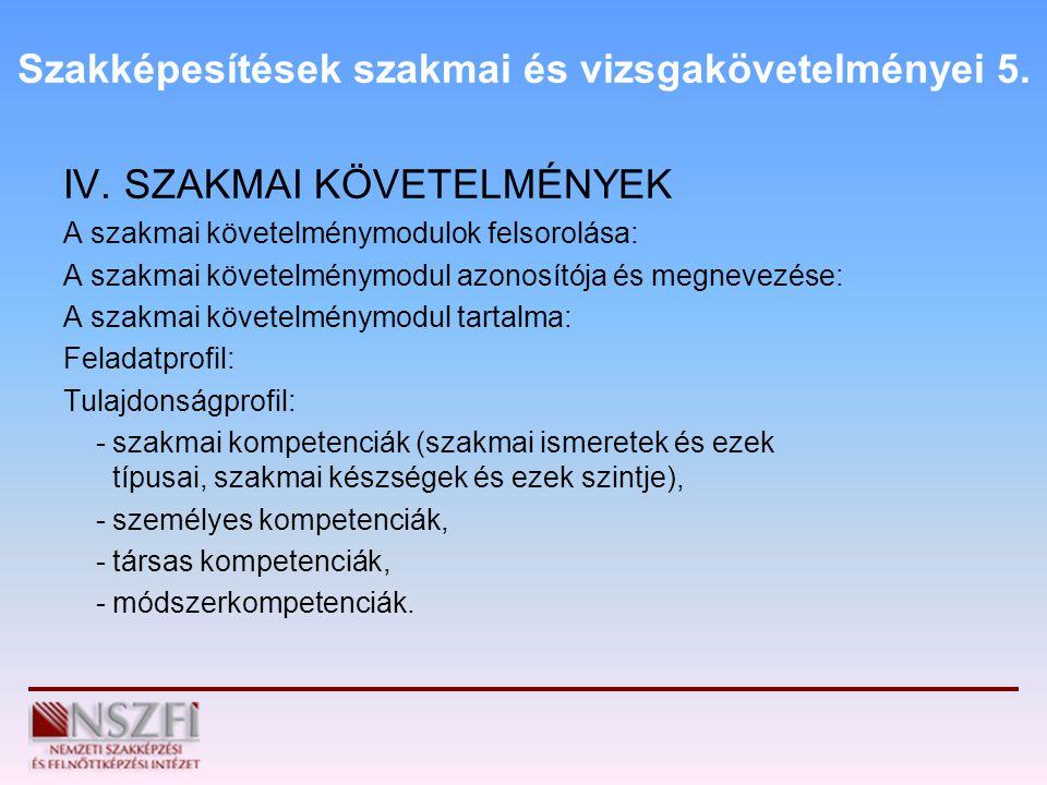 Szakképesítések szakmai és vizsgakövetelményei 5.