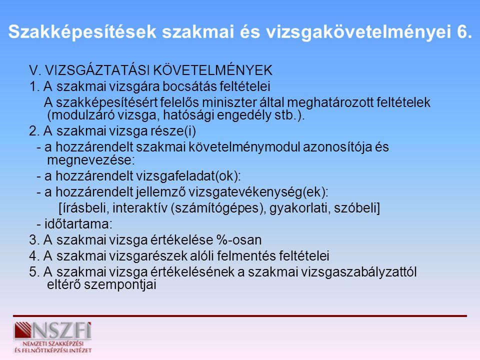 Szakképesítések szakmai és vizsgakövetelményei 6.