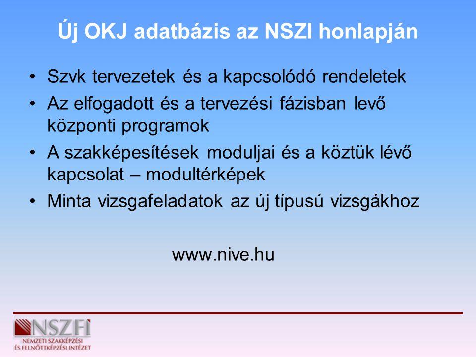 Új OKJ adatbázis az NSZI honlapján