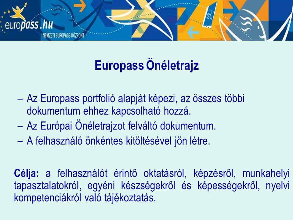Europass Önéletrajz Az Europass portfolió alapját képezi, az összes többi dokumentum ehhez kapcsolható hozzá.