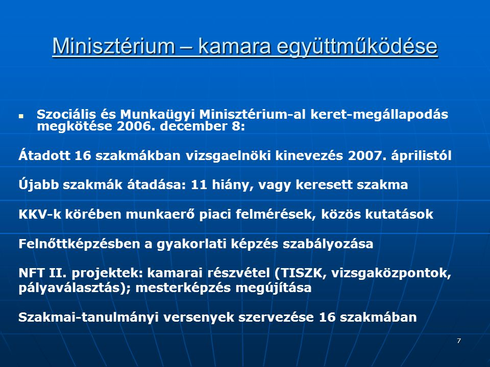 Minisztérium – kamara együttműködése