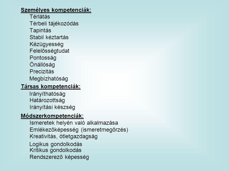 Személyes kompetenciák: