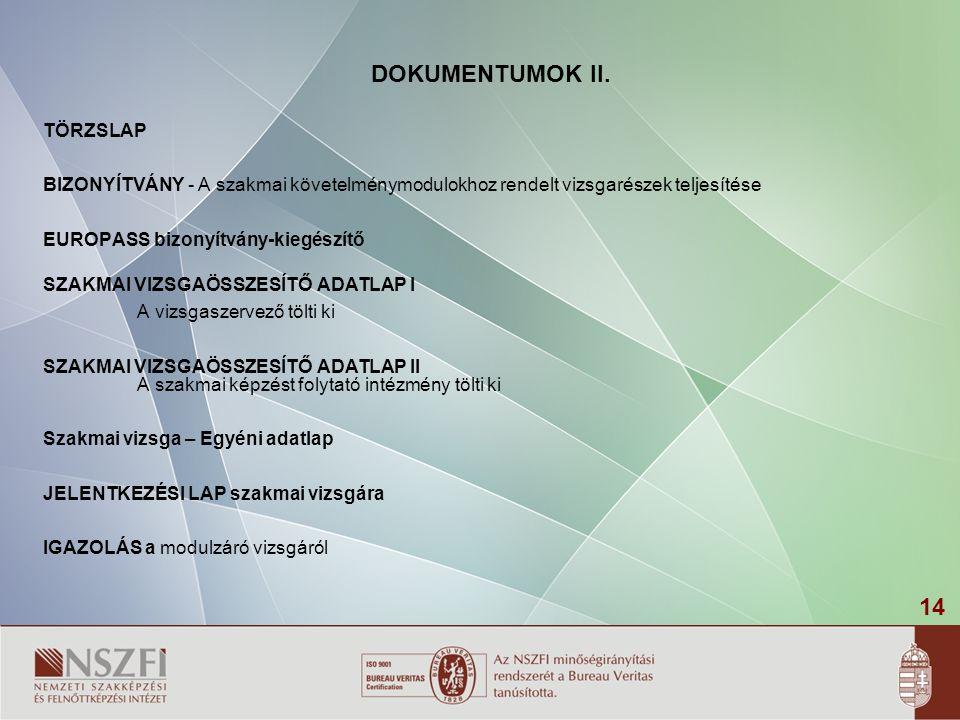 DOKUMENTUMOK II. TÖRZSLAP
