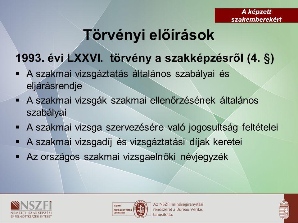 Törvényi előírások 1993. évi LXXVI. törvény a szakképzésről (4. §)