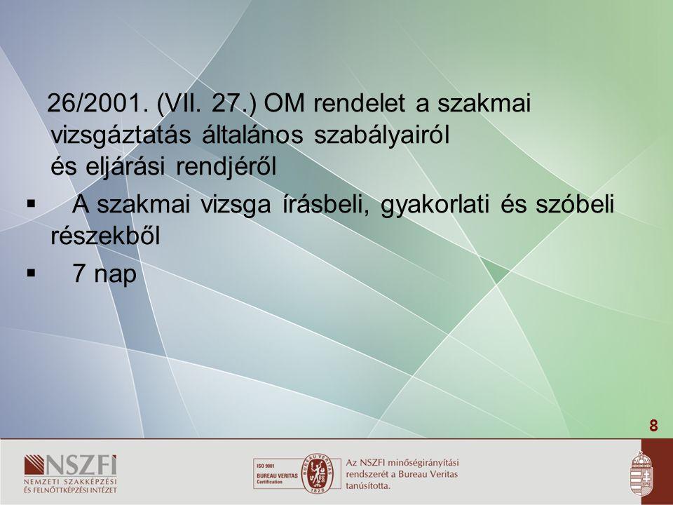 26/2001. (VII. 27.) OM rendelet a szakmai vizsgáztatás általános szabályairól és eljárási rendjéről