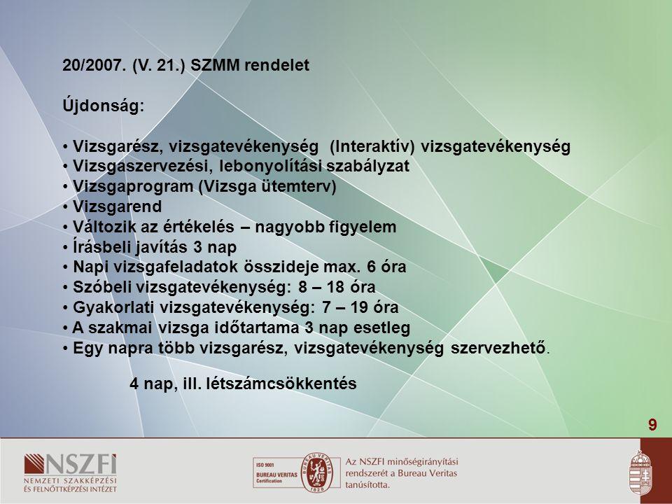 20/2007. (V. 21.) SZMM rendelet Újdonság: Vizsgarész, vizsgatevékenység (Interaktív) vizsgatevékenység.