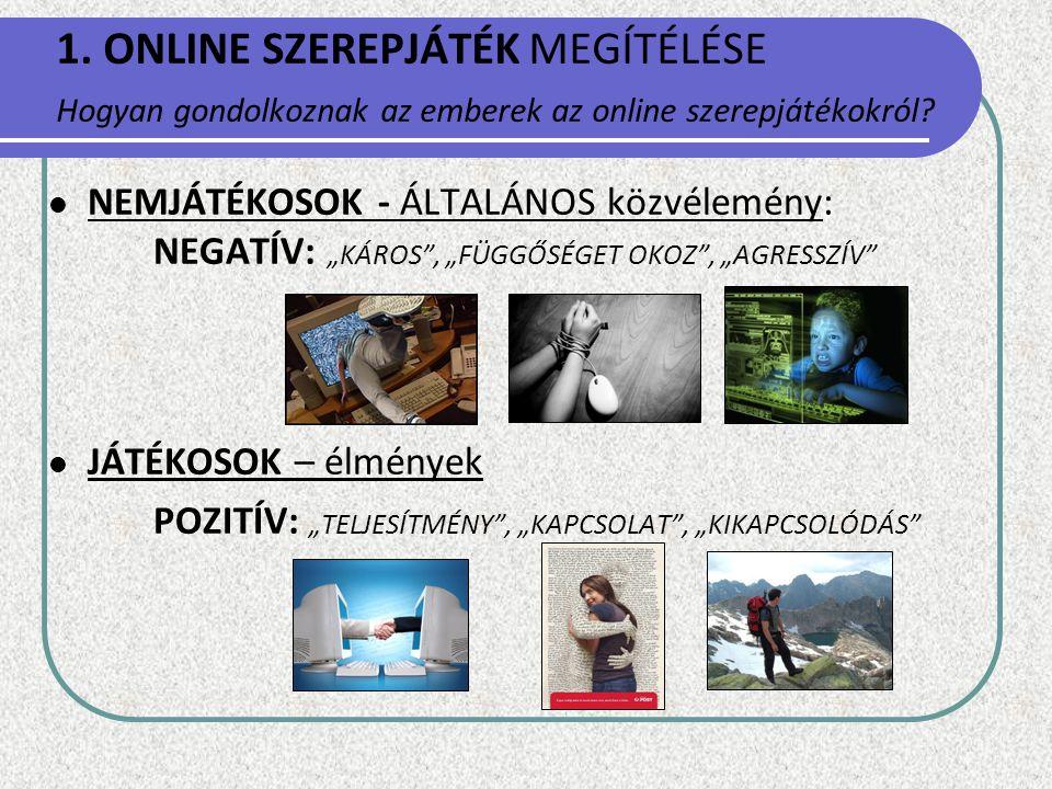 ONLINE SZEREPJÁTÉK MEGÍTÉLÉSE Hogyan gondolkoznak az emberek az online szerepjátékokról