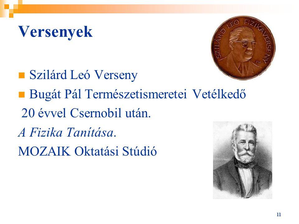 Versenyek Szilárd Leó Verseny Bugát Pál Természetismeretei Vetélkedő