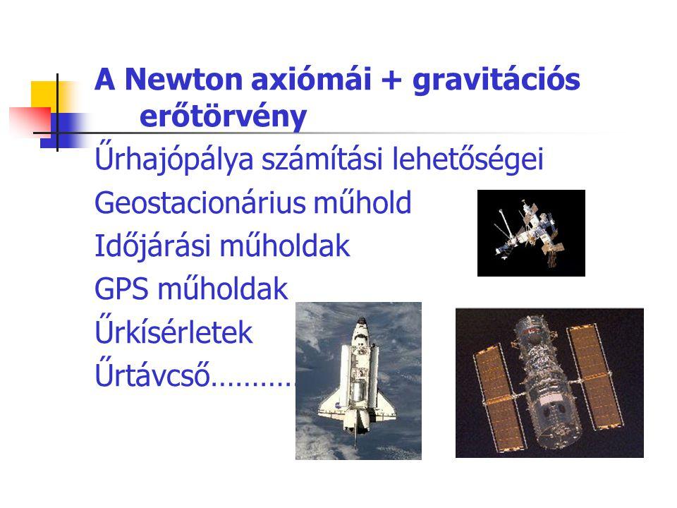 A Newton axiómái + gravitációs erőtörvény