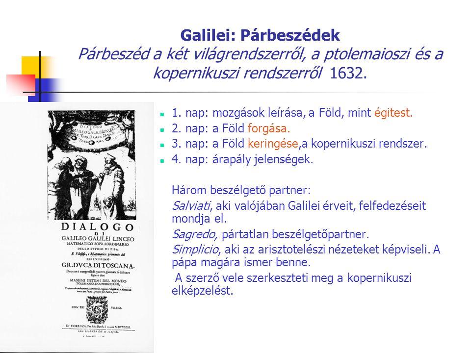 Galilei: Párbeszédek Párbeszéd a két világrendszerről, a ptolemaioszi és a kopernikuszi rendszerről 1632.