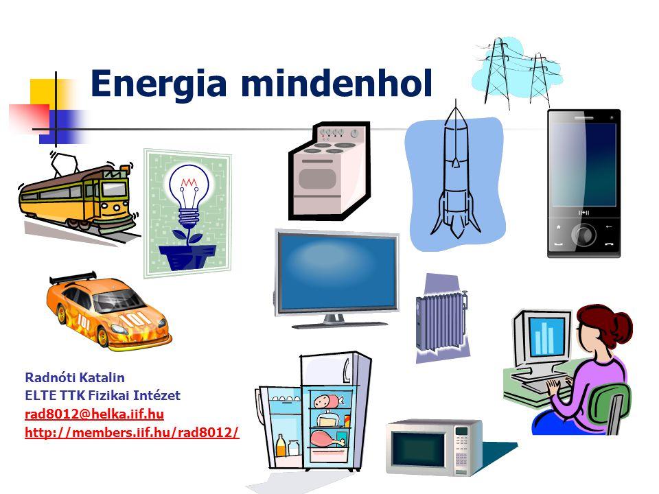 Energia mindenhol Radnóti Katalin ELTE TTK Fizikai Intézet