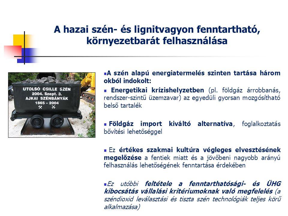A hazai szén- és lignitvagyon fenntartható, környezetbarát felhasználása
