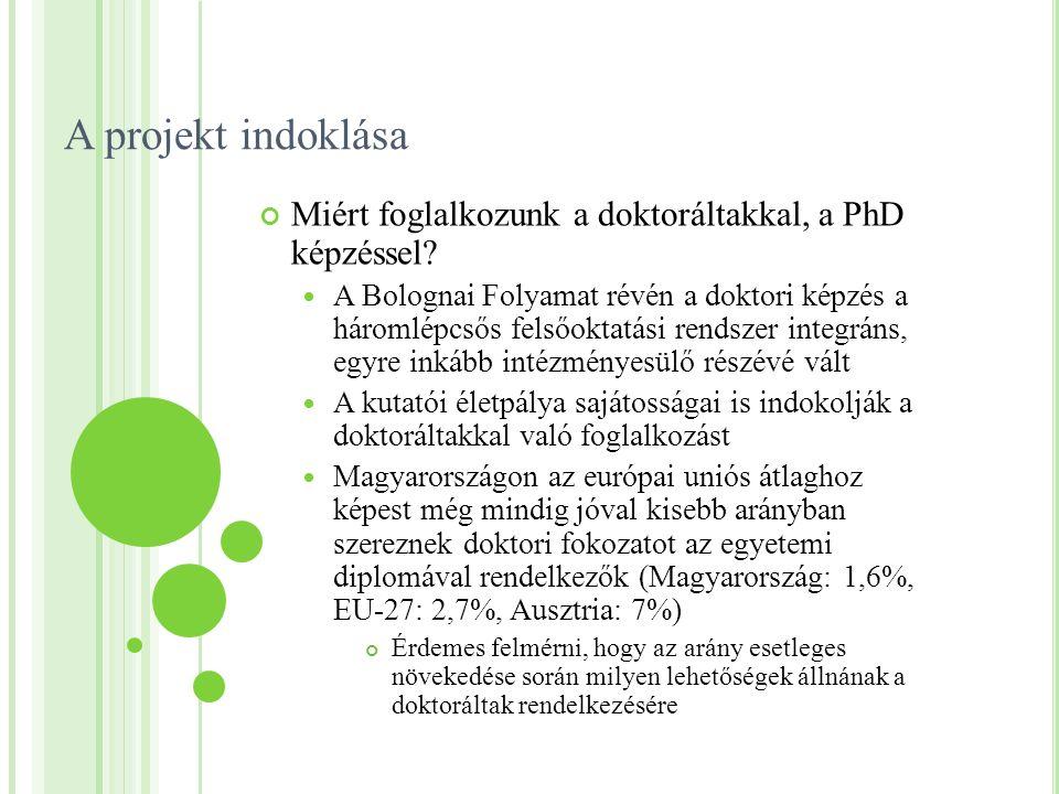 A projekt indoklása Miért foglalkozunk a doktoráltakkal, a PhD képzéssel