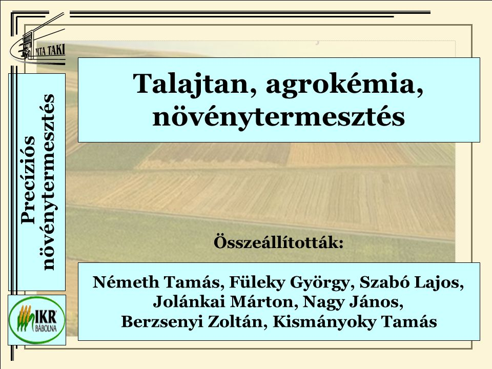 Talajtan, agrokémia, növénytermesztés