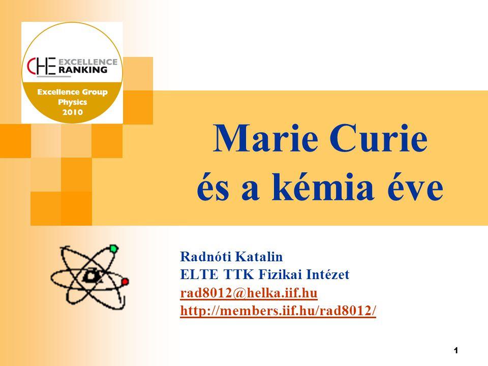 Marie Curie és a kémia éve