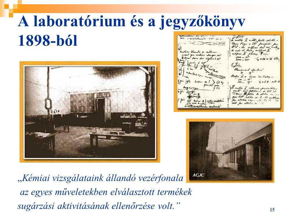 A laboratórium és a jegyzőkönyv 1898-ból