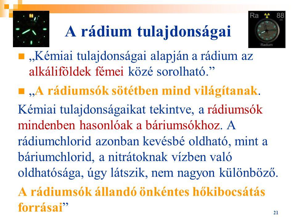A rádium tulajdonságai