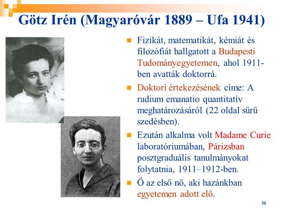Götz Irén (Magyaróvár 1889 – Ufa 1941)