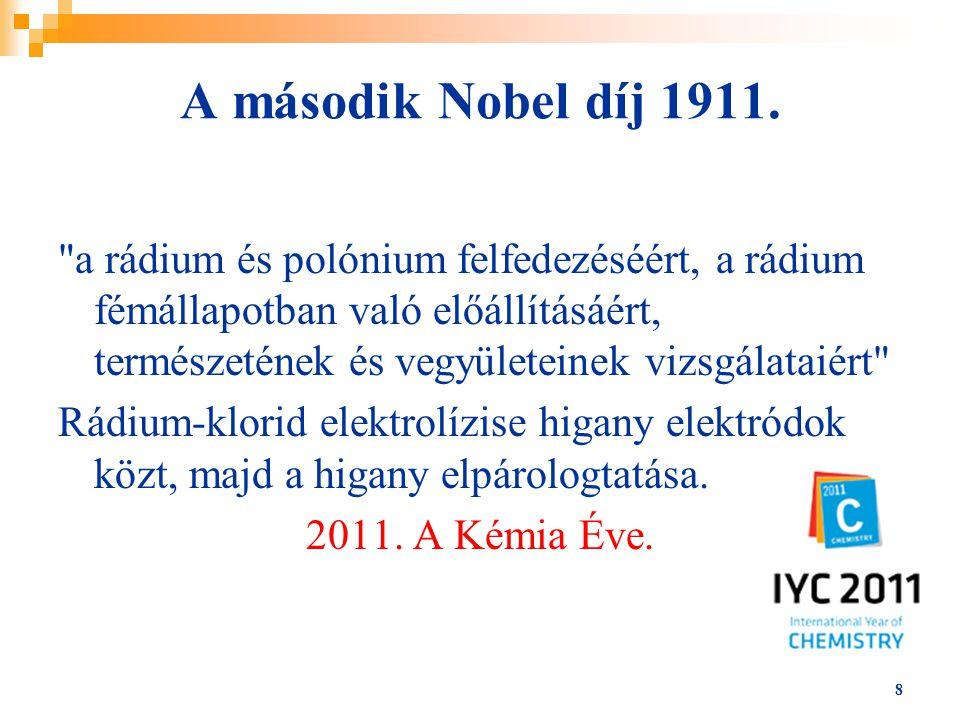 A második Nobel díj 1911.
