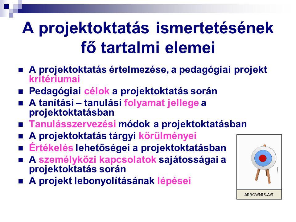 A projektoktatás ismertetésének fő tartalmi elemei
