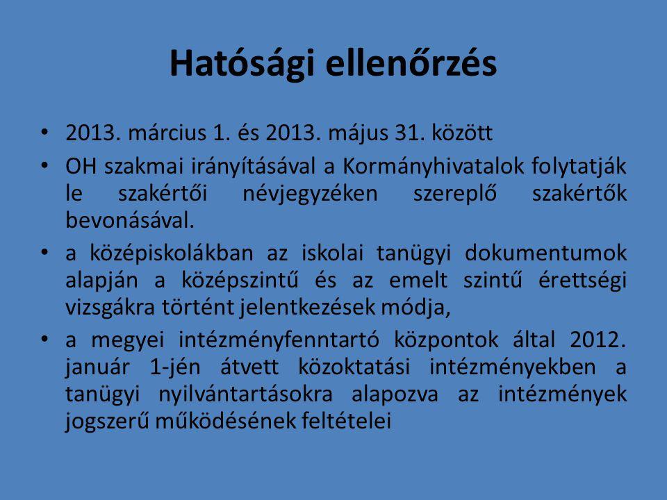 Hatósági ellenőrzés 2013. március 1. és 2013. május 31. között